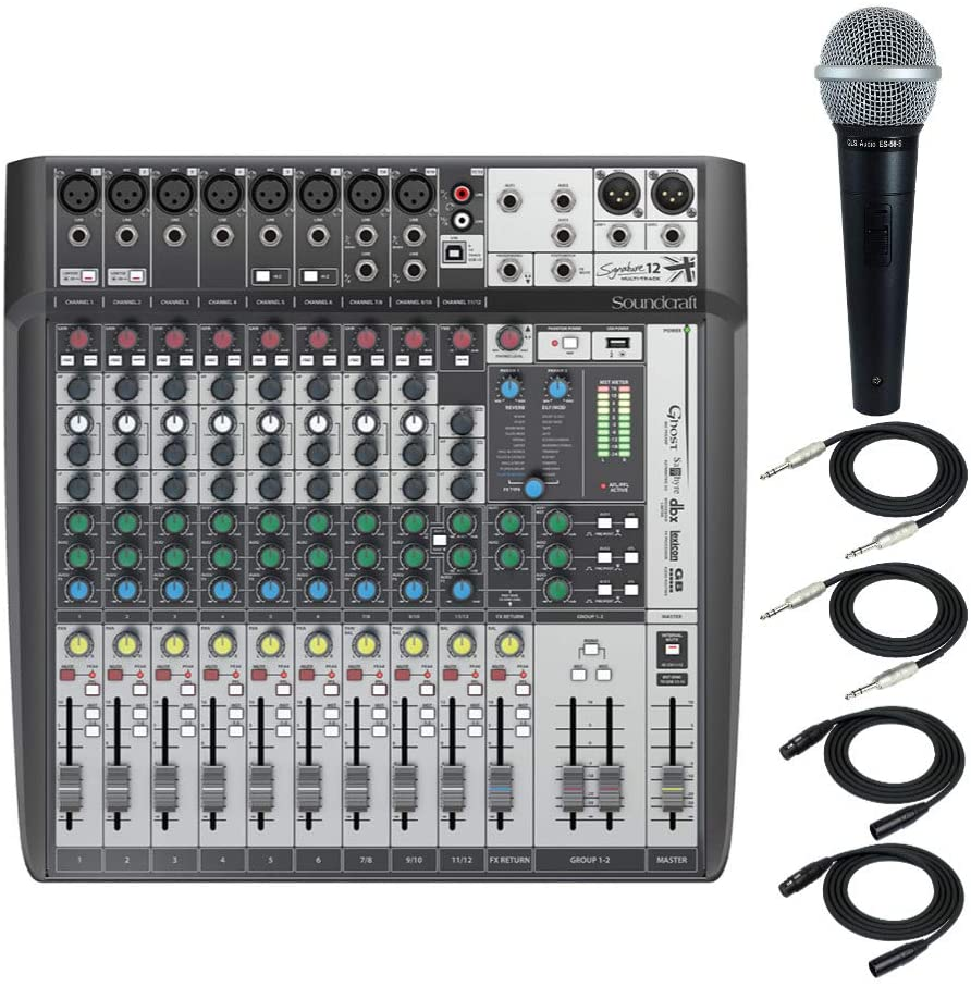 Soundcraft Signature 12MTK Analog 12-Channel Multi-Track Mixer Professional Recording Bundle with Dynamic Microphone, XLR Cables, 1/4-Inch TRS Cables (6 Items)