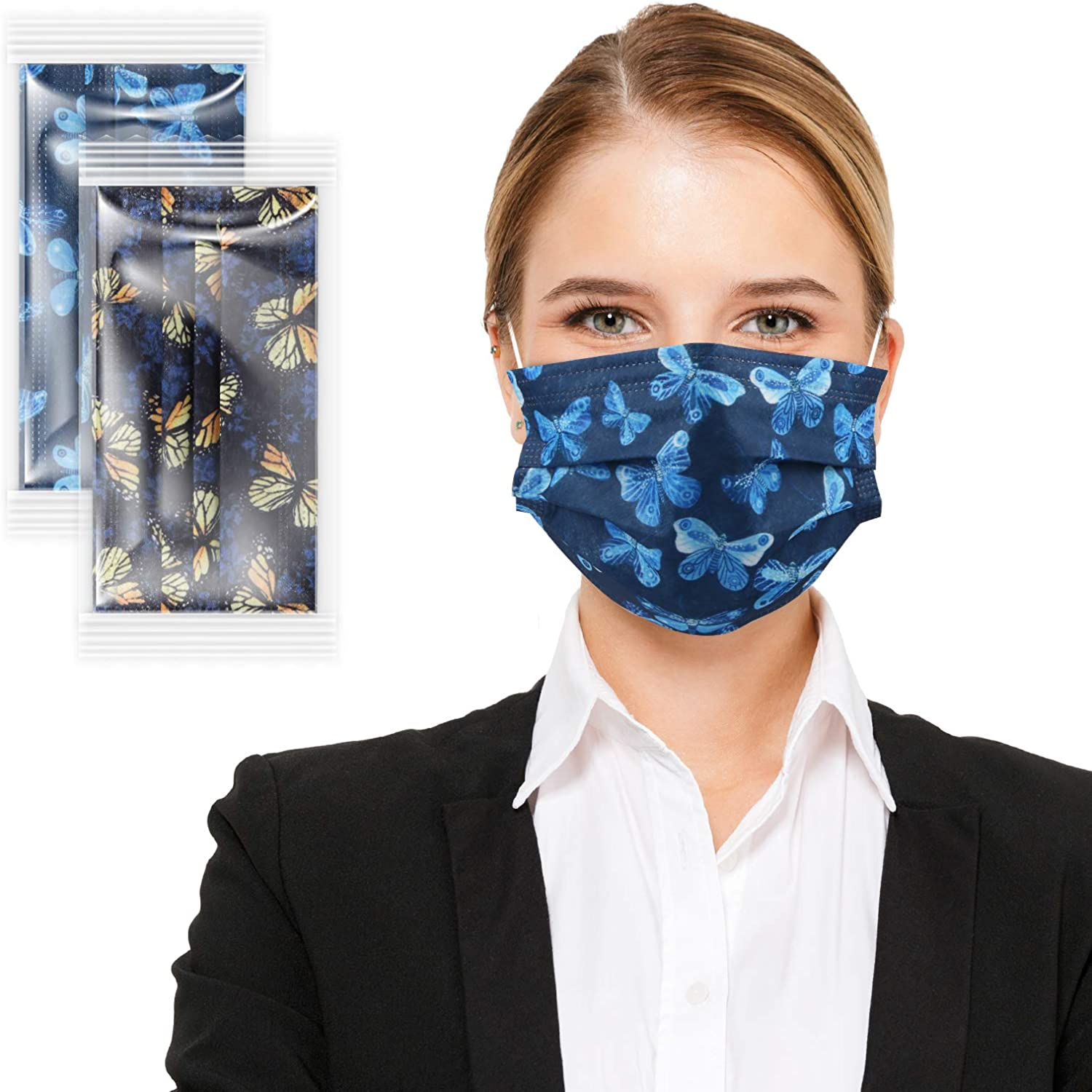 TIANLU Colored Printed Disposable Face Masks with Designs,Individually Wrapped Pack of 20 Pcs,Tie Dye Patterned 3-layer Non-Woven Face Mask (Blue Butterfly)
