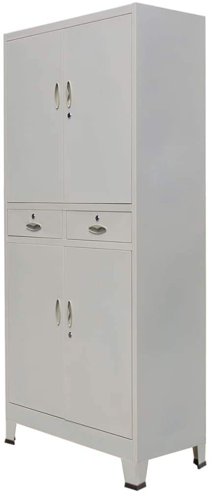 Gray Lateral File Cabinet, 35.4x15.7x70.9 Steel Floor Cabinet Storage Vertical Cabinet with 4 Doors Office Cabinet Open Adjustable Storage Shelves for Home Office Living Room