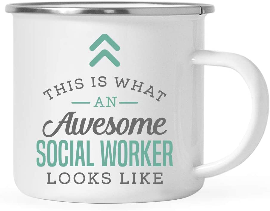 Andaz Press 11oz. Stainless Steel Campfire Coffee Mug Gift, This is What an Awesome Social Worker Looks Like, 1-Pack, Birthday Gift Ideas Coworker Him Her, Includes Gift Box