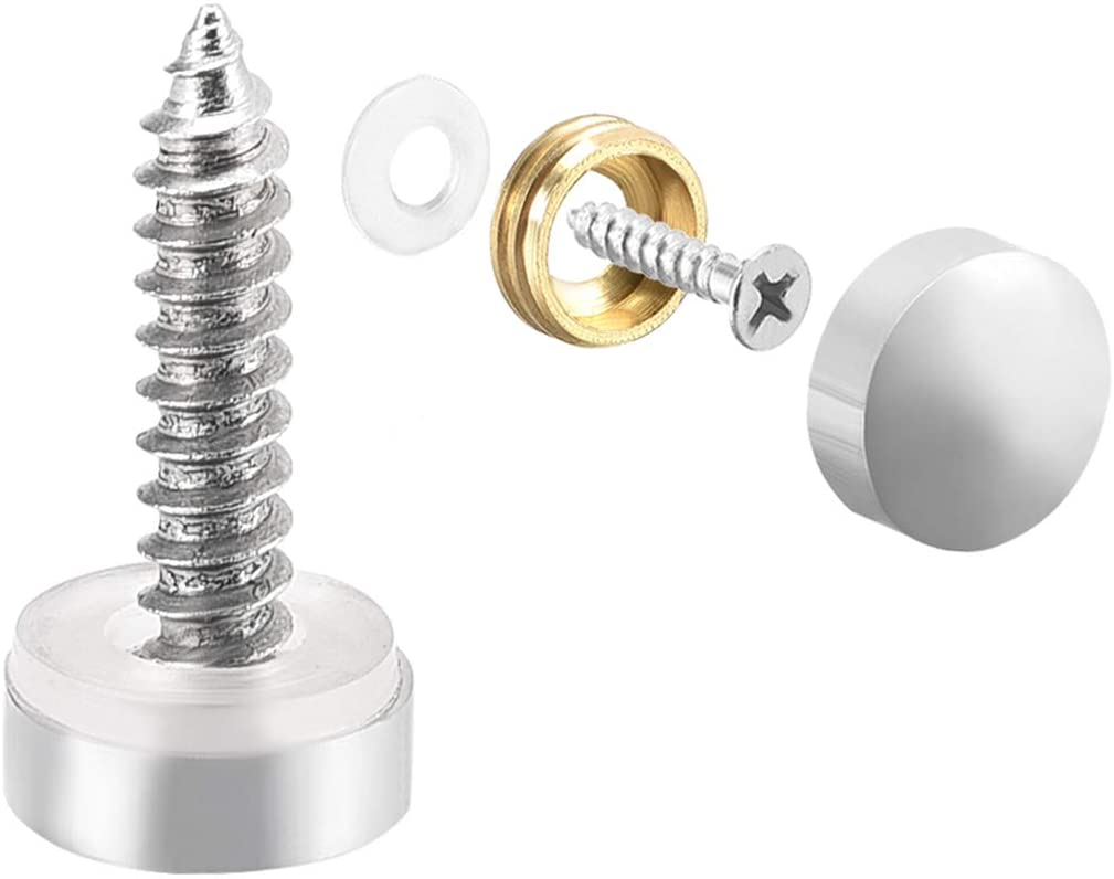 uxcell Mirror Screws, Decorative Cap Fasteners Cover Nails, Electroplated, Bright Silvery 10mm/0.39
