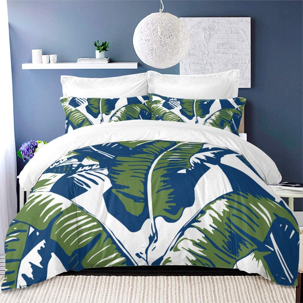 YC Rainforest Bedding Set Summer Plant Duvet Cover Set 3Pcs King Size Bed Cover Set Green Leaves Bed Cover Set Two Pillowcases (NO Comforter)