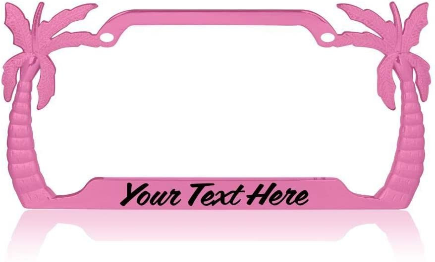Custom Brother - Decorative Steel Pink Personalized Big Palm Tree Auto Plate Frame w/Coffee Black Font w20