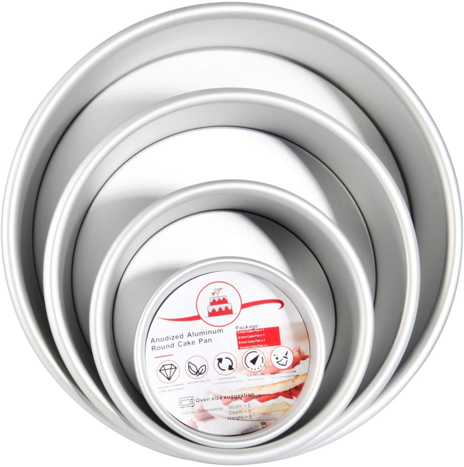 Round Cake Pans, OAMCEG 4 Pcs (4