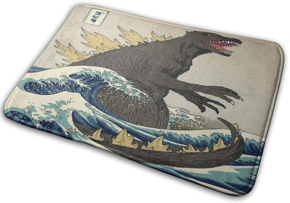 CUICAN Memory Foam Bath Mat Non Slip The Great Godzilla Off Kanagawa Absorbent Super Cozy Bathroom Rug Carpet 23.6 X 15.8 Inches