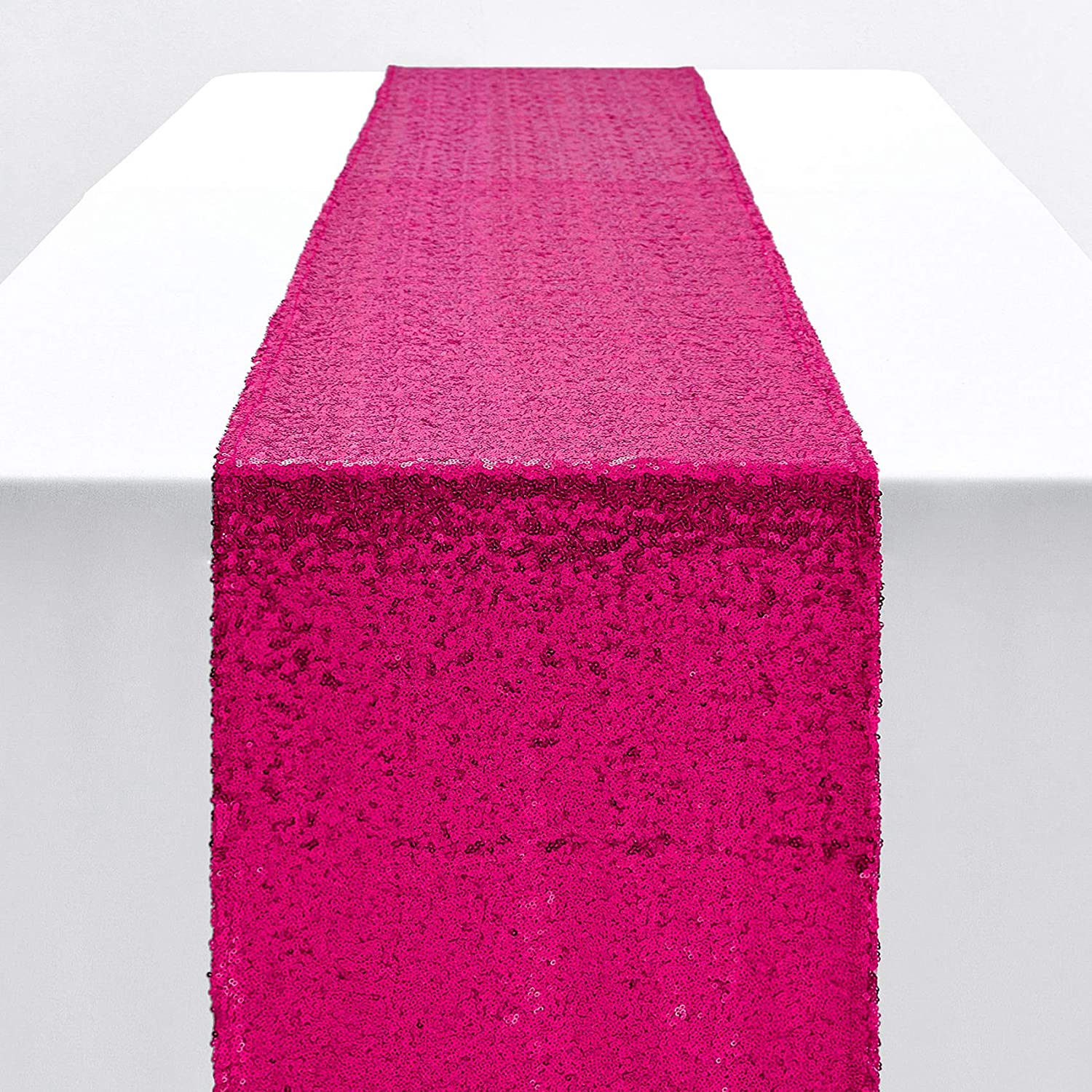 Pufogu 12 x 72 inches Hot Pink Sequin Table Runner, Fuchsia Glitter Table Runner for Birthday Party Supplies Decorations Wedding Bachelorette Holiday Celebration Bridal Shower Baby Shower (1 Pack)