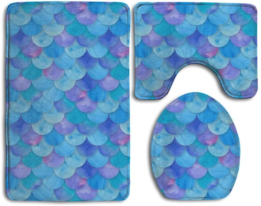 Sea Blue Mermaid Fish Scale Bathroom 3-Piece Mat Sets Pedestal Mat + Lid Toilet Cover + Bath Mat Doormat Non-Slip Rug