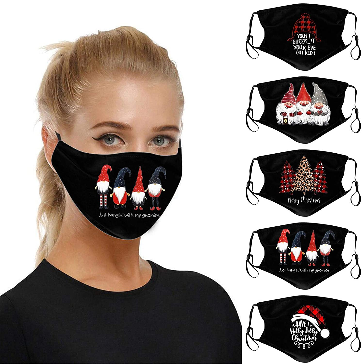 máscara Lavany 5PC Adults Black Christmas Face_Mask, 2Ply Washable Anti-Foggy Reusable Earloop Activated Carbon Protection Breathable Face Covering Balaclava for Party Happy New Years