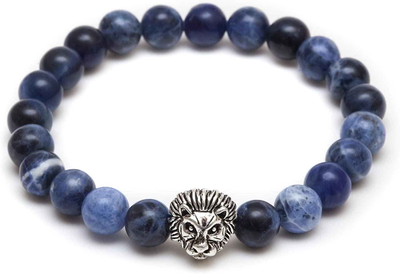 ZENGER Jewelry Lion Head Beaded Bracelet - 8mm Blue Bead, Elastic, Stretch