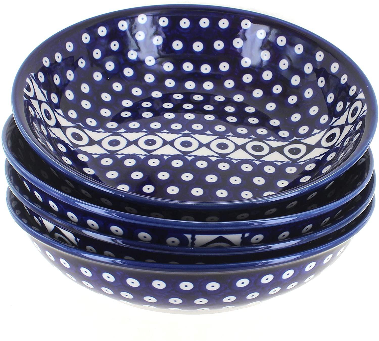 Blue Rose Polish Pottery Xena 4 PC Large Salad Bowl Set