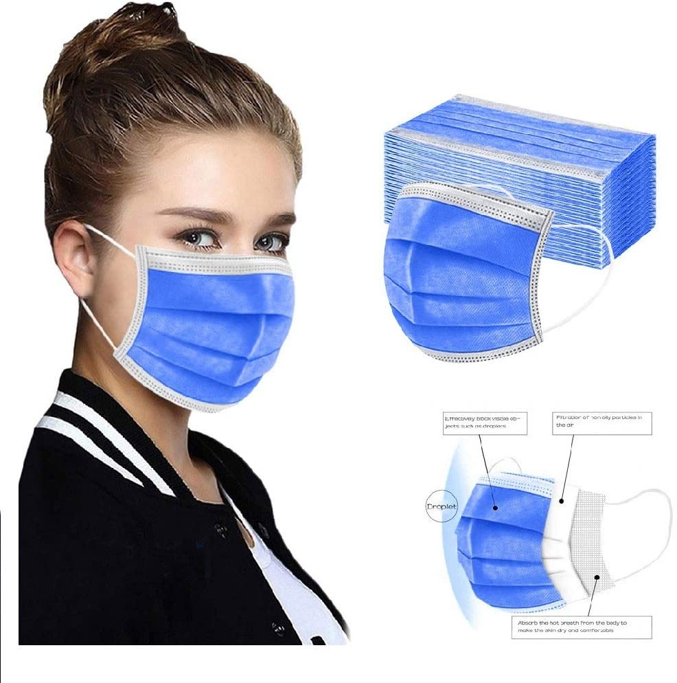 50pcs FDẴ Approved Disposable Face Mask Industriаl 3 Layer Filtеr for Coronàvịrụs Protectịon Breathable Adult Face Masks (B)
