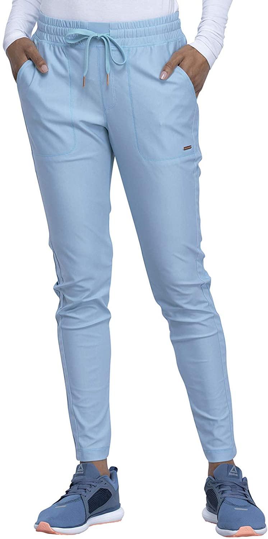 CHEROKEE Form Mid Rise Tapered Leg Drawstring Pant, CK090, XL, Sky Blue