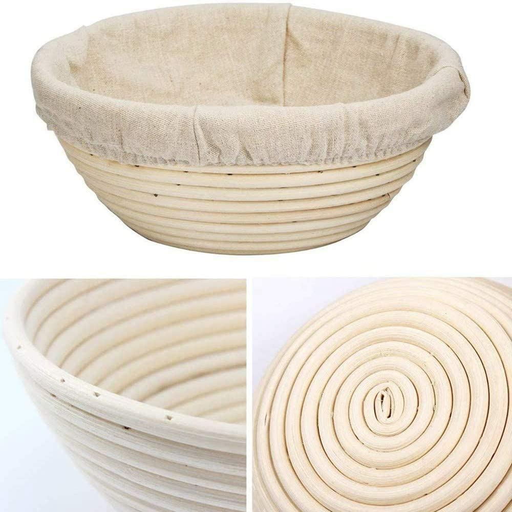 Handmade Bread Basket 9-inch Natural Rattan Fermentation Basket. Linen dough lining. Round Bread cake Fermentation Baking mold