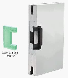 CRL 6x10 RH/LHR Satin Chrome Finish Custom Center Lock Glass Keeper With Deadlatch Electric Strike