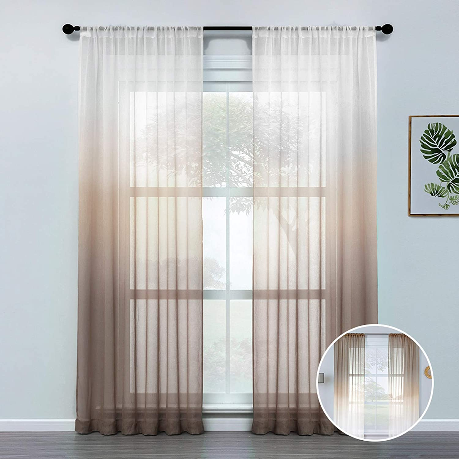 CUTEWIND Ombre Sheer Curtains 72 Inches Long for Living Room Bedroom Rod Pocket Light Filtering Voile Coffee Brown Sheers Drapes Semi Sheer Curtain Panels (2 Panels,Coffee Brown Gradient,54×72 inch)