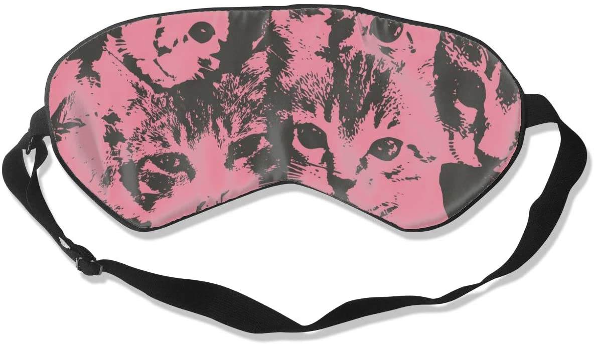 NiYoung Premium Adjustable Blindfold Eyeshade for Men Women and Kids, Comfortable Sleep Eye Mask for Travel/Nap/Shift Work (Cute Cat Lightweight)