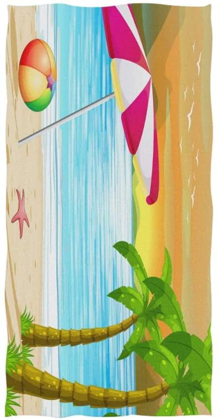 linomo Hand Towel Tropical Summer Beach Towel Cotton Face Towel Dish Towel for Kids Girls Boys Adult