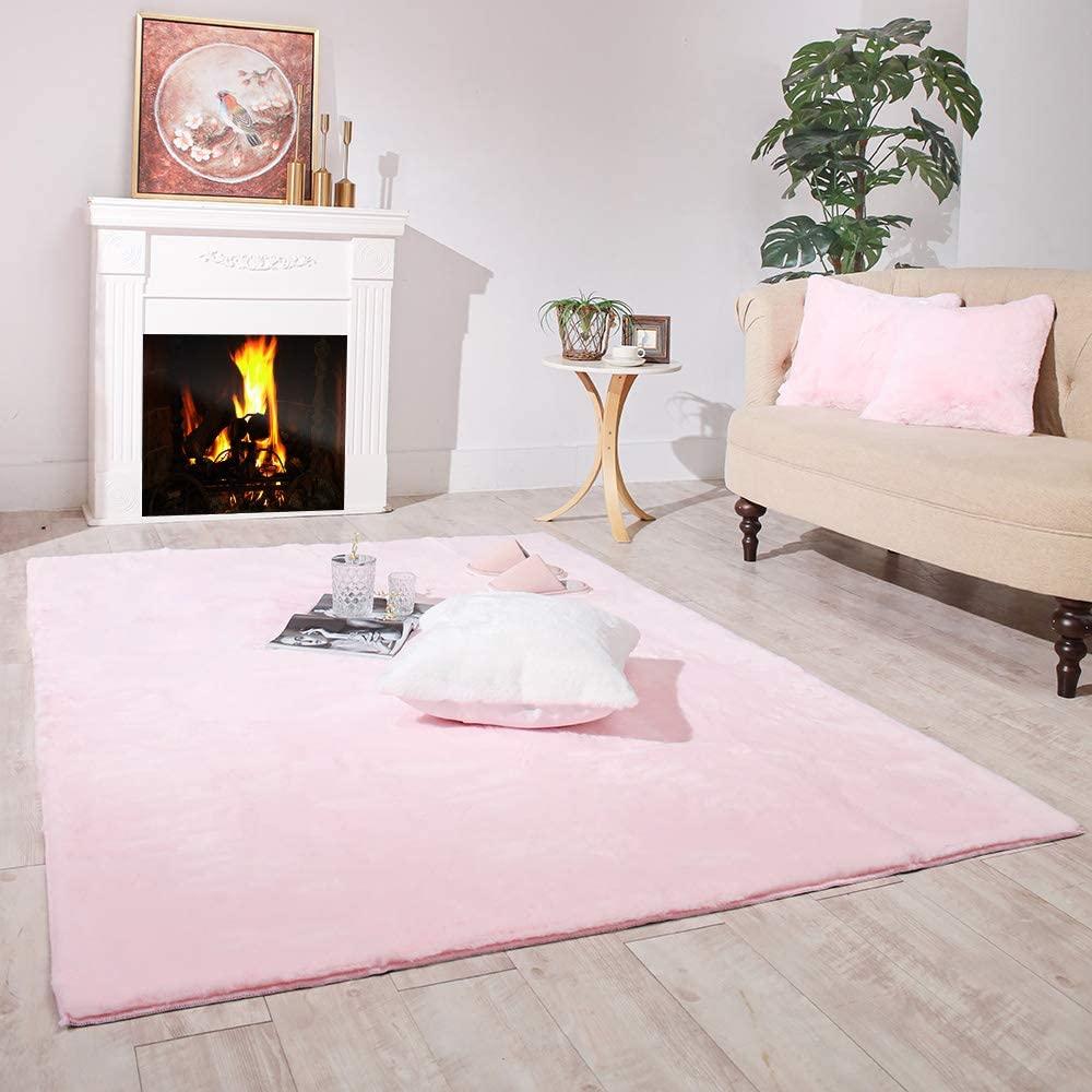 Carvapet Ultra Soft Faux Rabbit Fur Area Rug Fluffy Bedside Carpet Mat for Bedroom Floor Living Room,4ft x 6ft,Pink