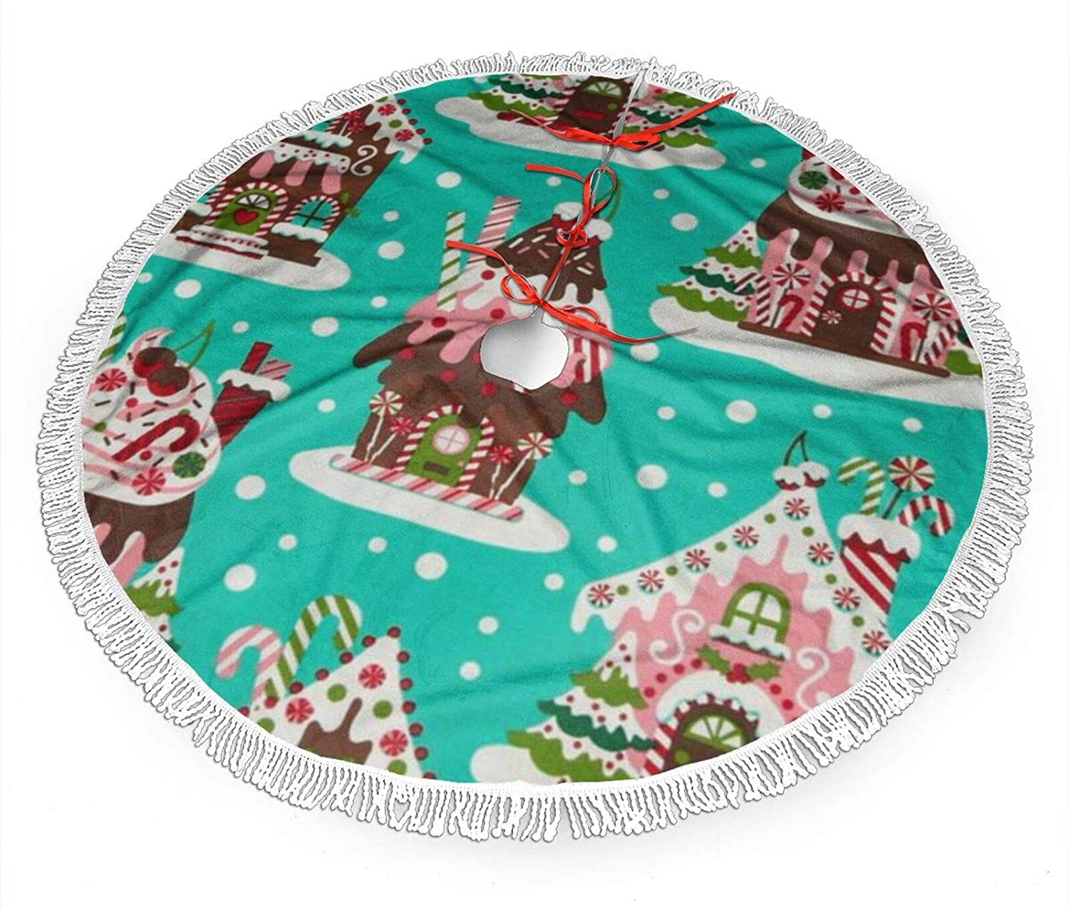 antcreptson Holiday Gingerbread Houses 48 Inch Christmas Tree Skirt Tree Skirt Ornament for Christmas Holiday Decoration