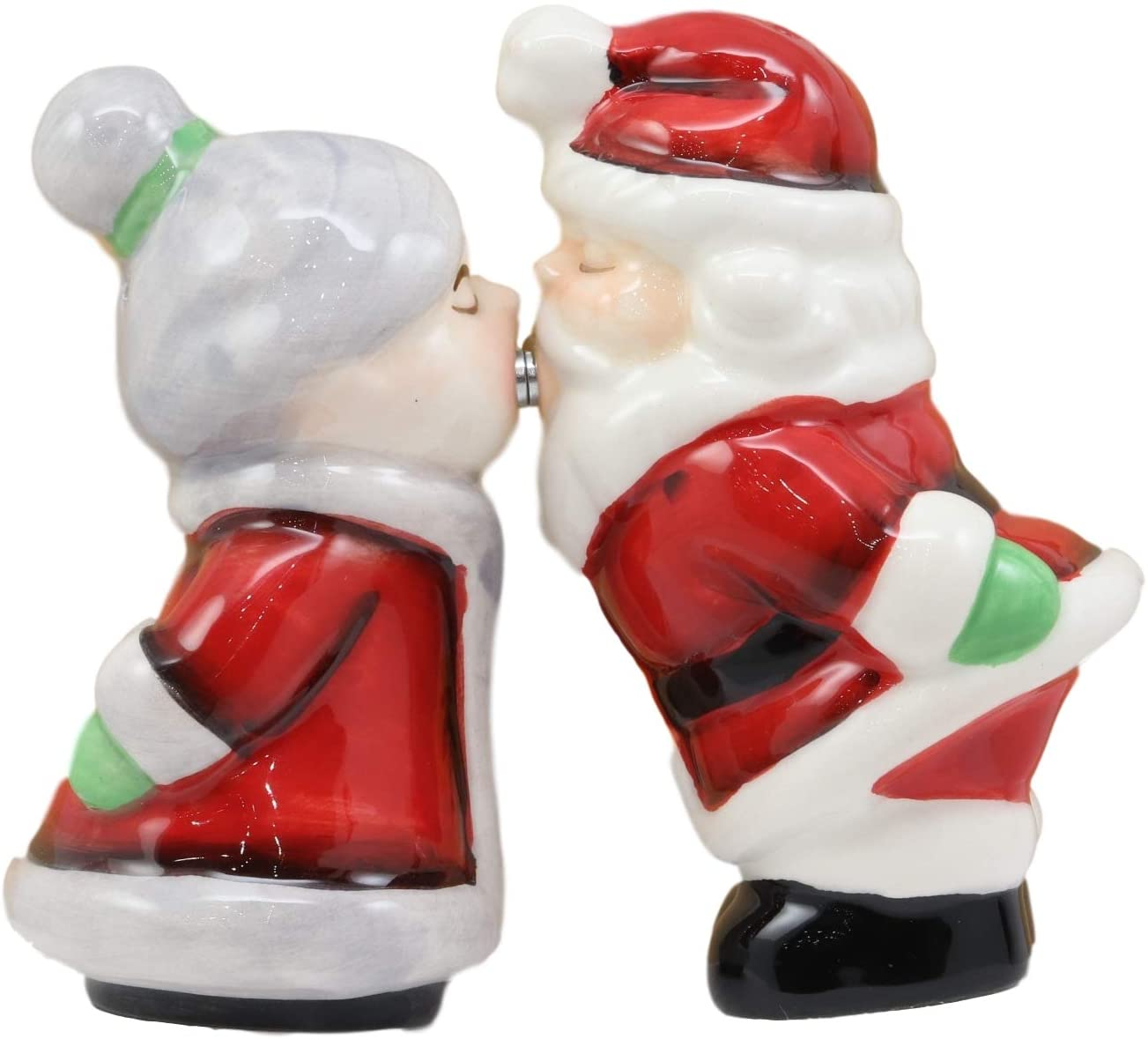 Ebros Kissing Mr And Mrs Santa Claus Father Christmas Couple Magnetic Salt And Pepper Shakers Set Ceramic Figurines Party Kitchen Tabletop Collectible Prop Jolly Holiday Season Greetings Decorative