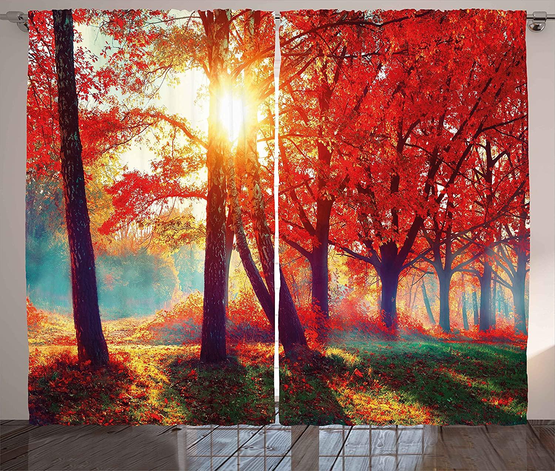 Ambesonne Tree Curtains, Autumnal Foggy Park Fall Nature Scenic Scenery Maple Trees Sunbeams Woods, Living Room Bedroom Window Drapes 2 Panel Set, 108 X 63, Orange Yellow