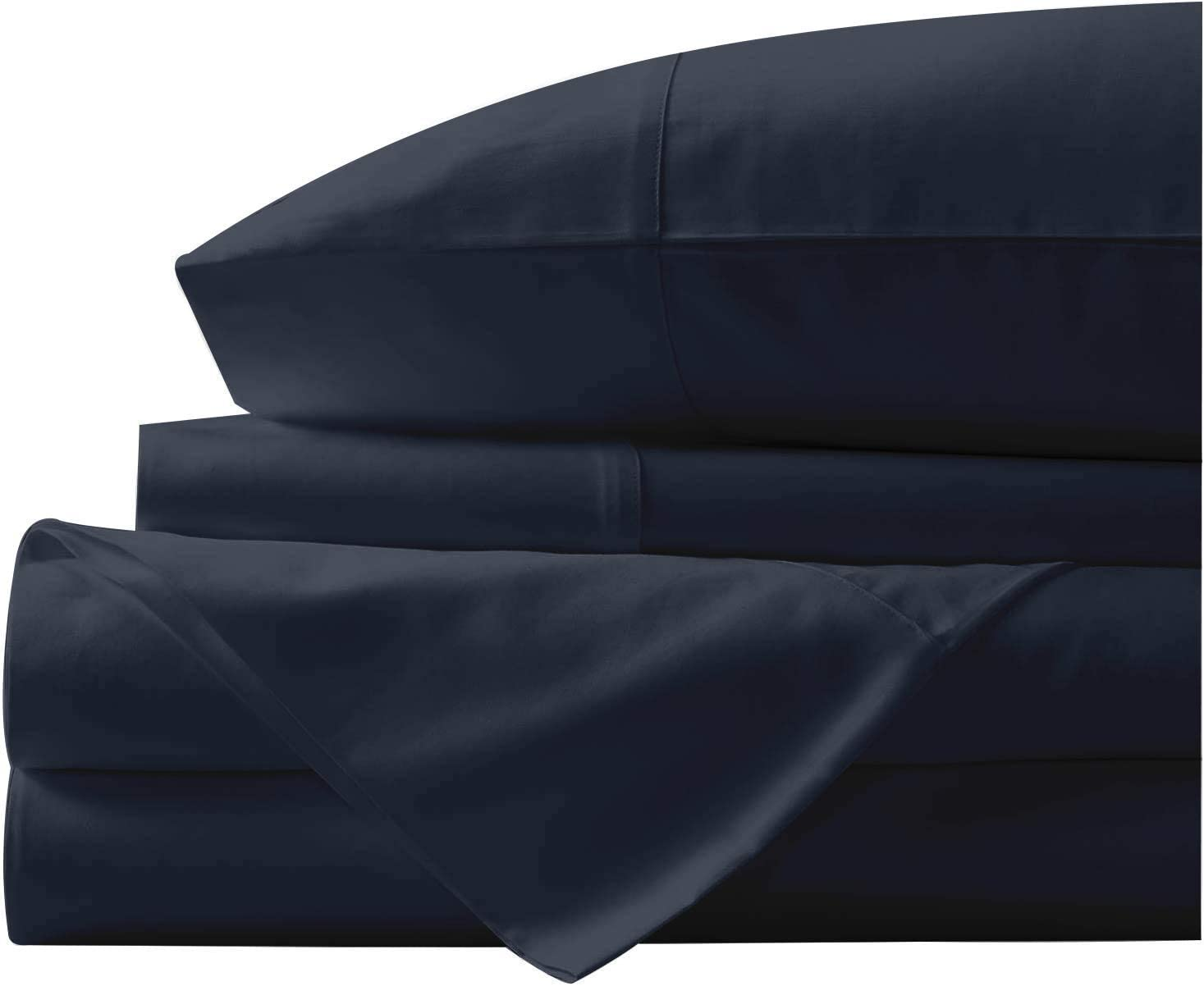 Bunny's Home 4 Piece Sheet Set 100% Egyptian Cotton Sheets 18 inches Extra Deep Pocket 800 Thread Count Bedsheet, Fitted Sheet & 2 Pillowcase Soft Solid Hotel Luxury [Queen Size, Midnight Blue]