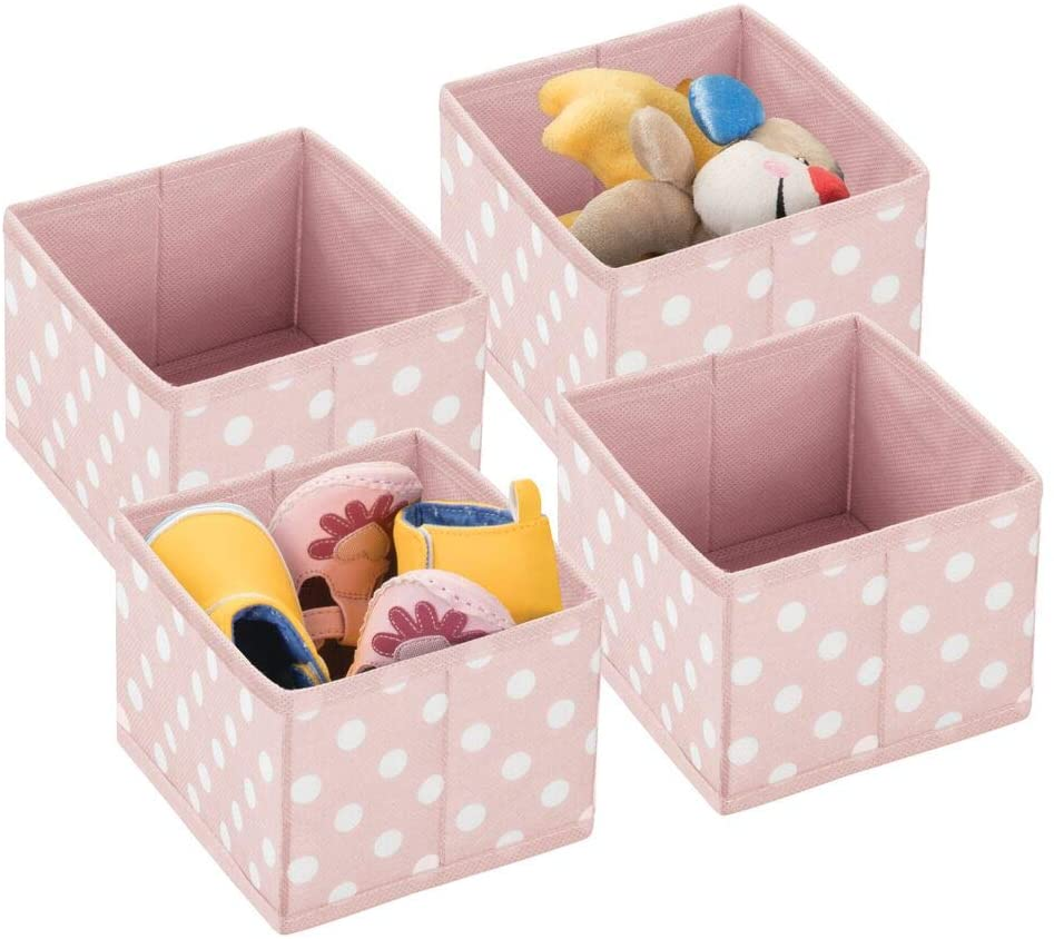 mDesign Soft Fabric Polka Dot Dresser Drawer and Closet Storage Organizer, Bin for Child/Kids Room, Nursery, Playroom, Bedroom, 4 Pack - Pink/White