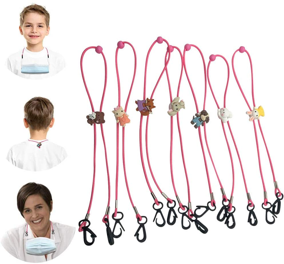 Giveyo 5/7PCS Adjustable Face Bandanas Lanyard Handy&Convenient Safety Face Covering Rest&Ear Holder Rope (B)