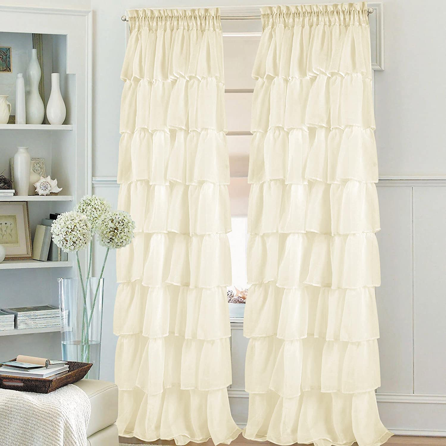 Jody Clarke 1PC Gypsy Window Treatment Curtain Crushed Sheer Panel Drape Ruffle Style Semi-Sheer Fully Stitched with Rod Pocket for Avilabale in Multiple Colors and Size (55