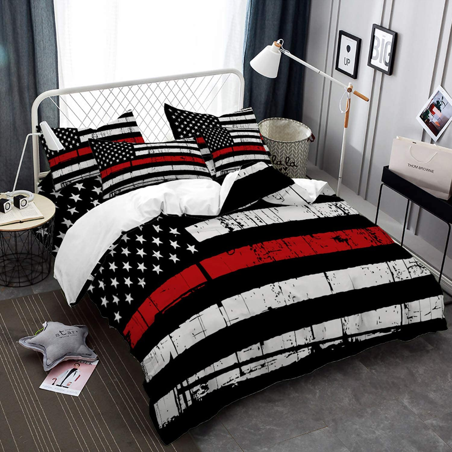 American Flag Duvet Cover Queen Size Independence Day Bedding Set Colorful Red Black White Stripe Quilt Cover 3D Printed Zipper Closure Bedding 3 Piece Bed Set with Pillowcase