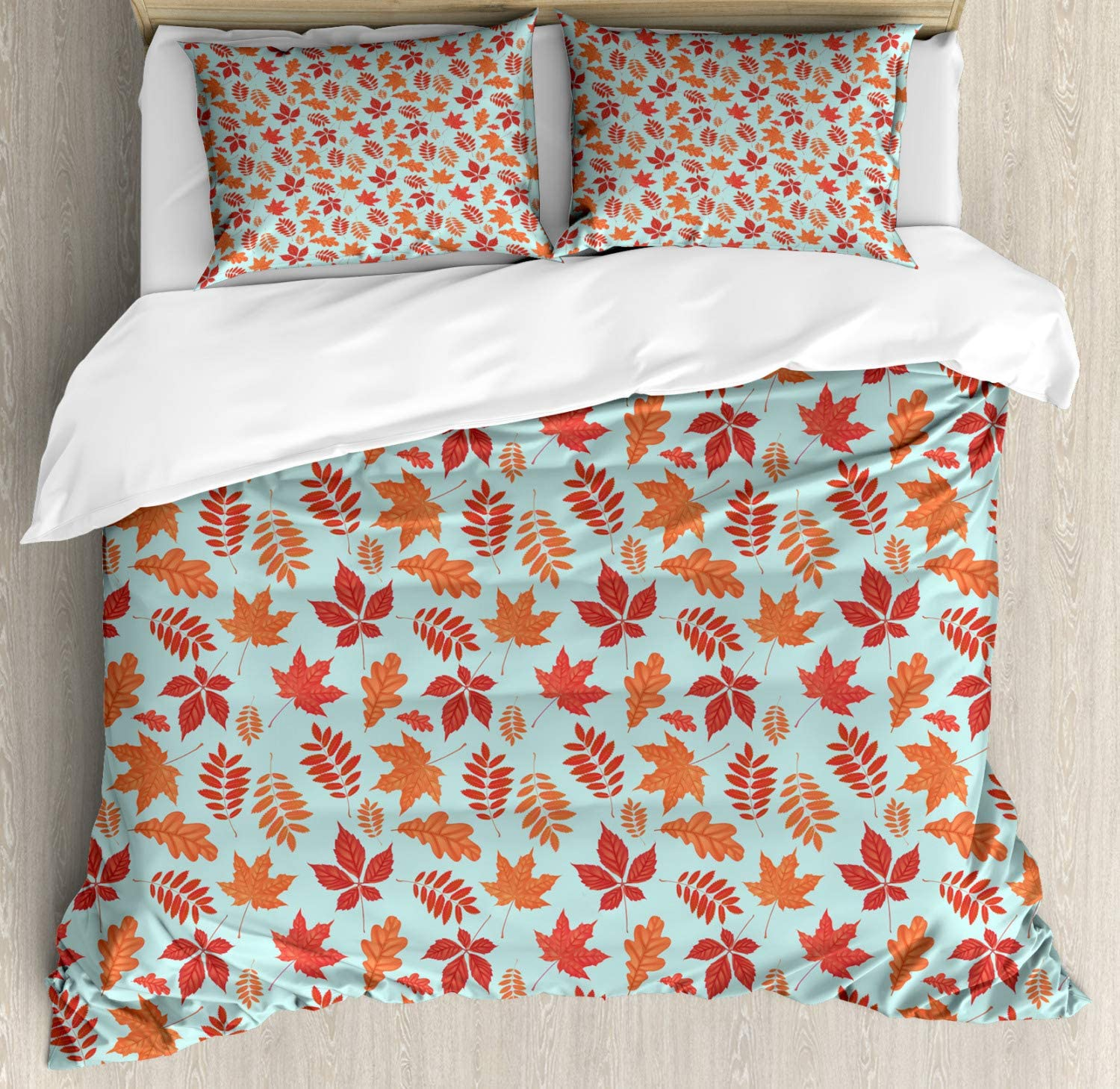 Lunarable Leaves Duvet Cover Set, Fall Season Themed Composition of Foliage Maple and Oak Leaf Pattern on Aqua, Decorative 3 Piece Bedding Set with 2 Pillow Shams, Queen Size, Aqua Orange Rust