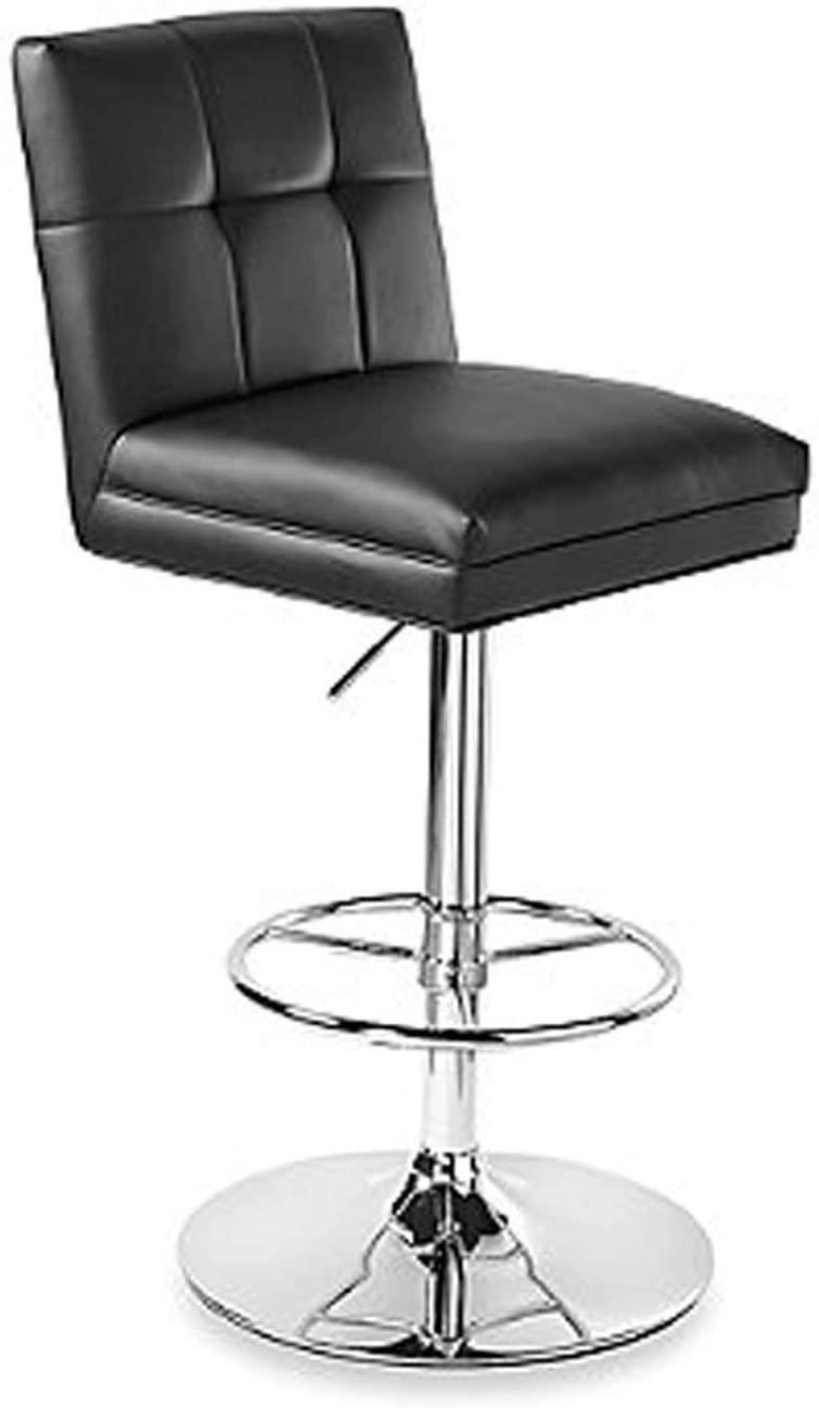 Benjara Leatherette Metal Swivel Barstool with Adjustable Height, Black and Chrome