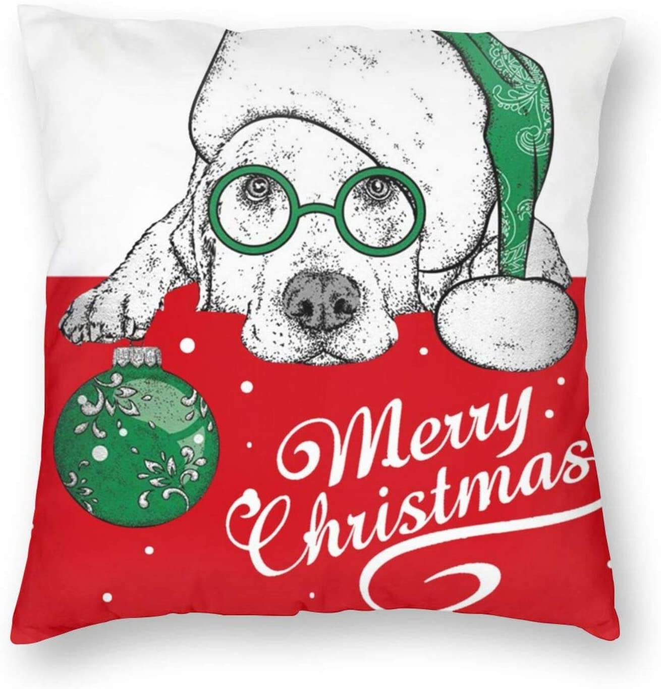 Yeorquae Cute Puppy Merry Christmas Bedroom Throw Pillow Covers Home Decorative Couch Sofa Square Pillow Case 18x18 in