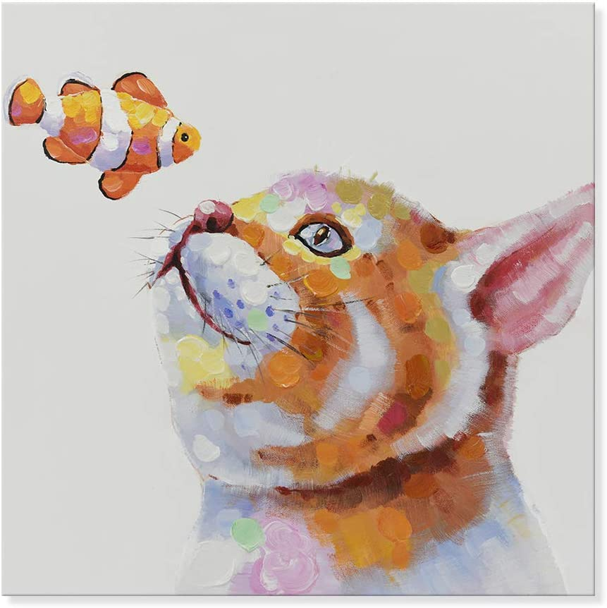 SEVEN WALL ARTS -Modern Hand-Painted Oil Painting Animal Cute Pet Cat Artwork with Stretched Frame for Home Decor (Cat and Salmon Clownfish, 24 x 24 Inch)