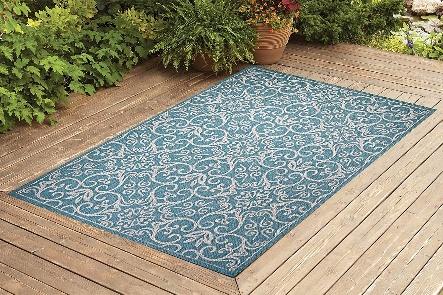 Benissimo Indoor Outdoor Rug Rams Horn Collection, Natural Sisal Woven and Jute Backing Area Rugs for Living Room, Bedroom, Kitchen, Entryway, Hallway, Patio, Farmhouse Decor 8x10, Turquoise