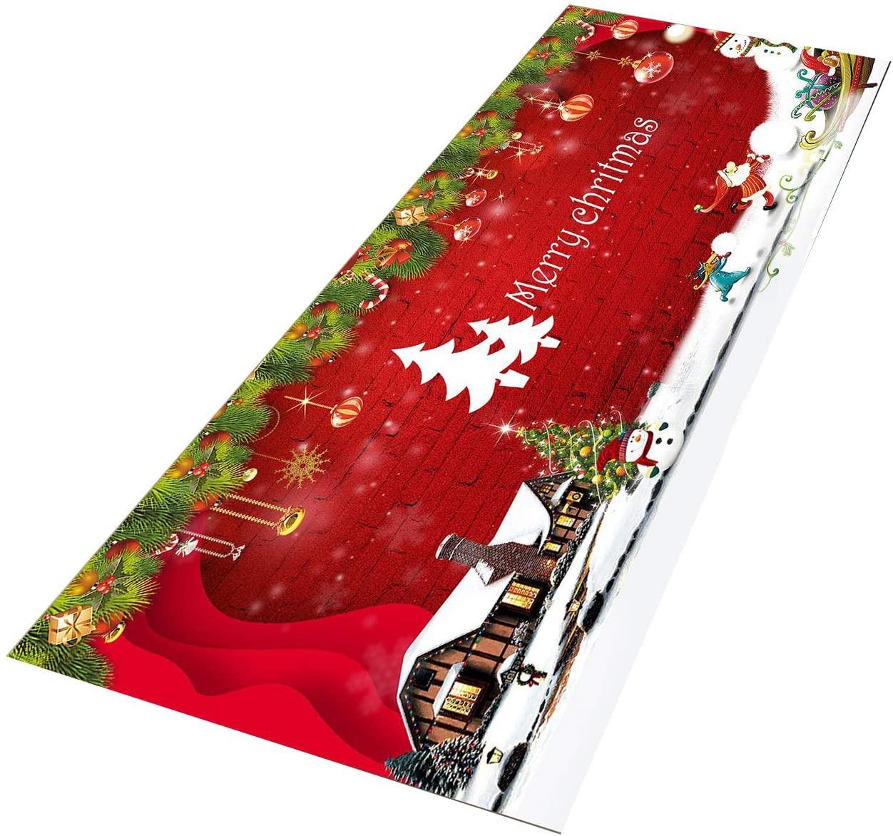 Crafttable 2 Pieces Santa Claus Kitchen Rug Set, Anti-Fatigue Kitchen Floor Mat, Non Slip Standing Carpet, 15.7x23.6+ 15.7x47.2 in, 04