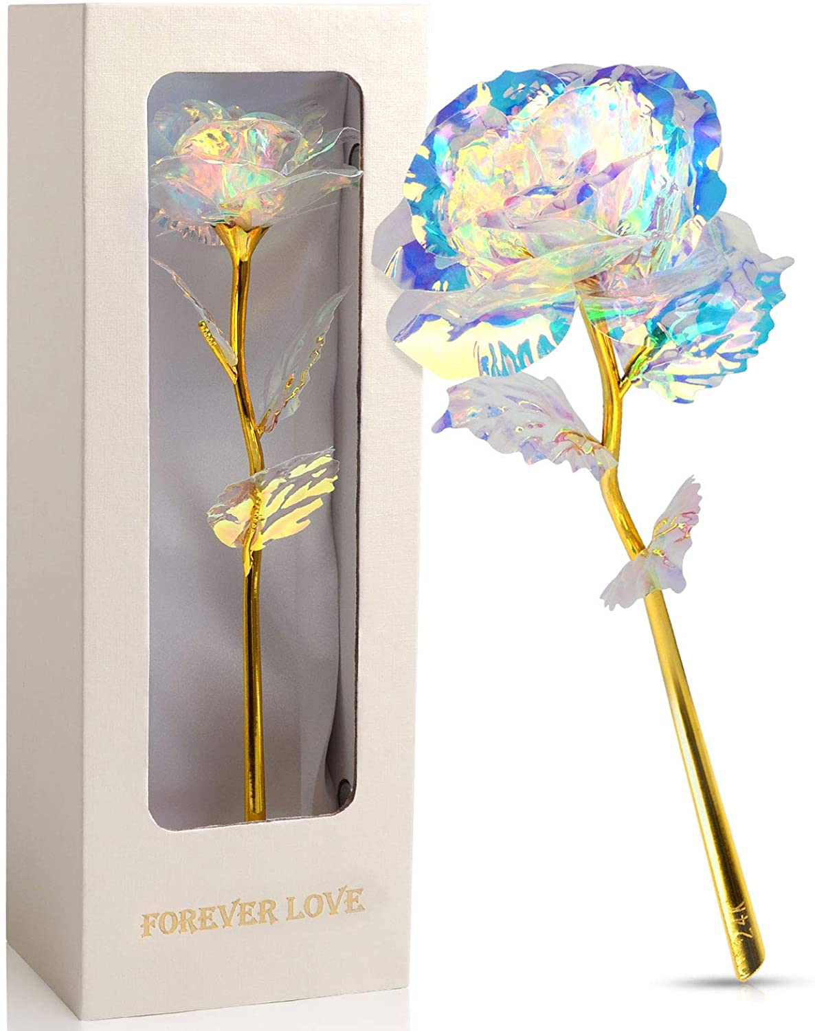 Roee, Rainbow Golden Flower Present Colorful Gold Foil Rose with Luxury Gift Box, Unique Gift Idea for Her Girlfriend Wife Mom Mother Grandma Women Birthday Christmas Weddding Anniversary Valentine