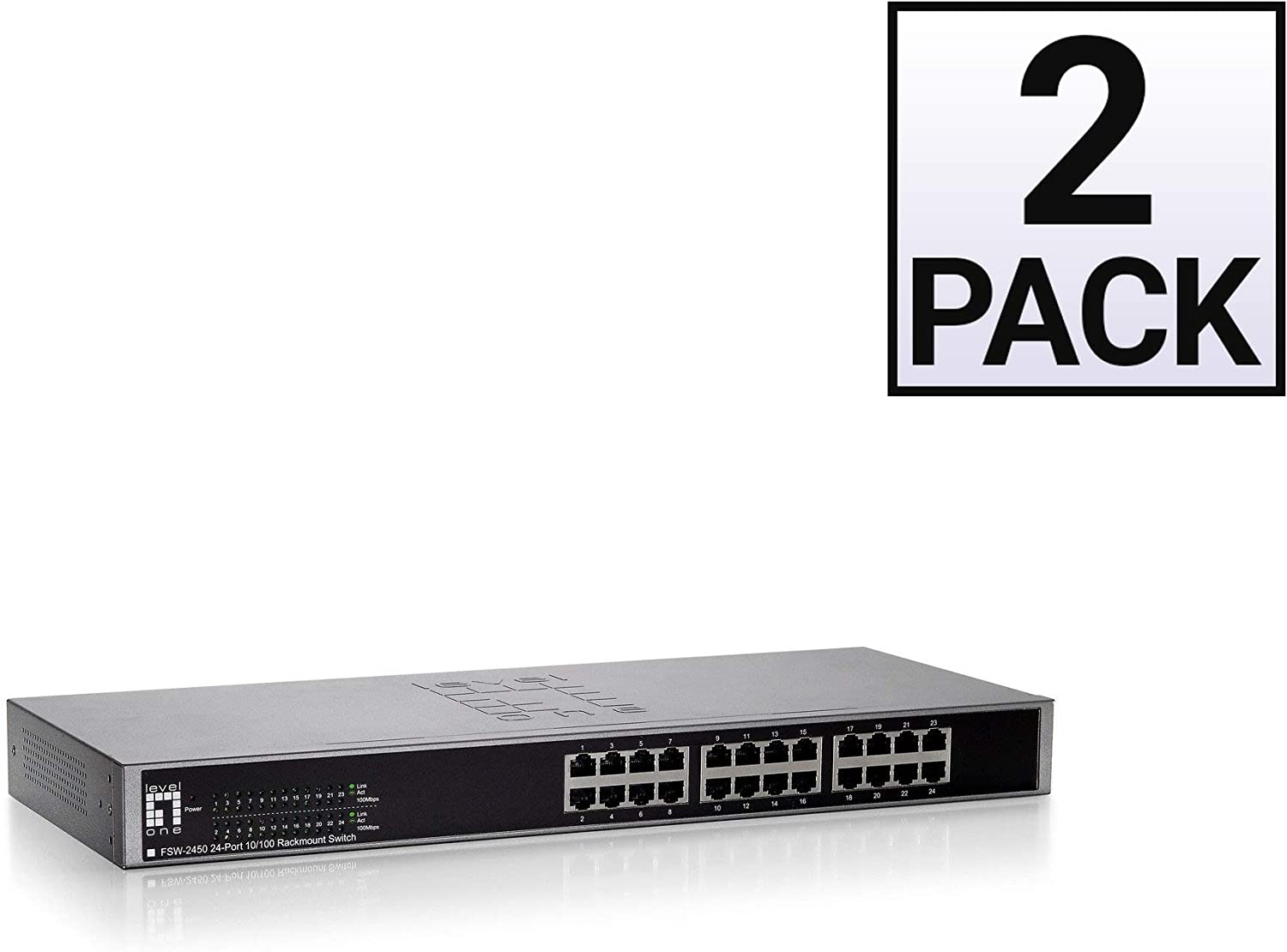 GOWOS (2 Pack) 24 Port 10/100 Fast Ethernet Switch, Black