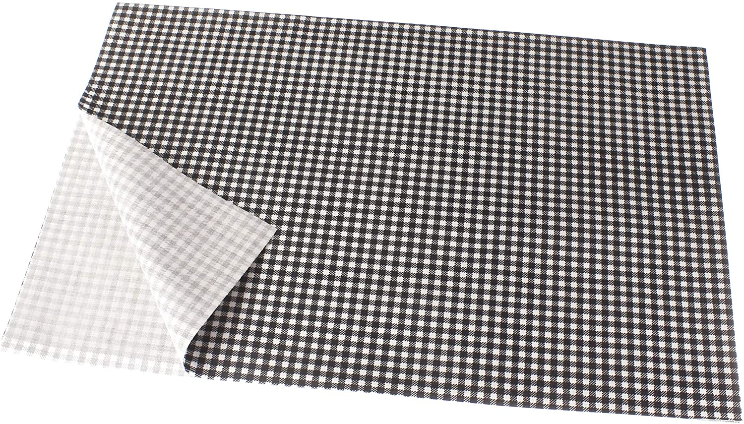 Printed Pre-Cut,High Density 100% Cotton Fabric Quarters For Sewing Masks, Quilting, 18 x 29 Inches - Black Gingham Plaid