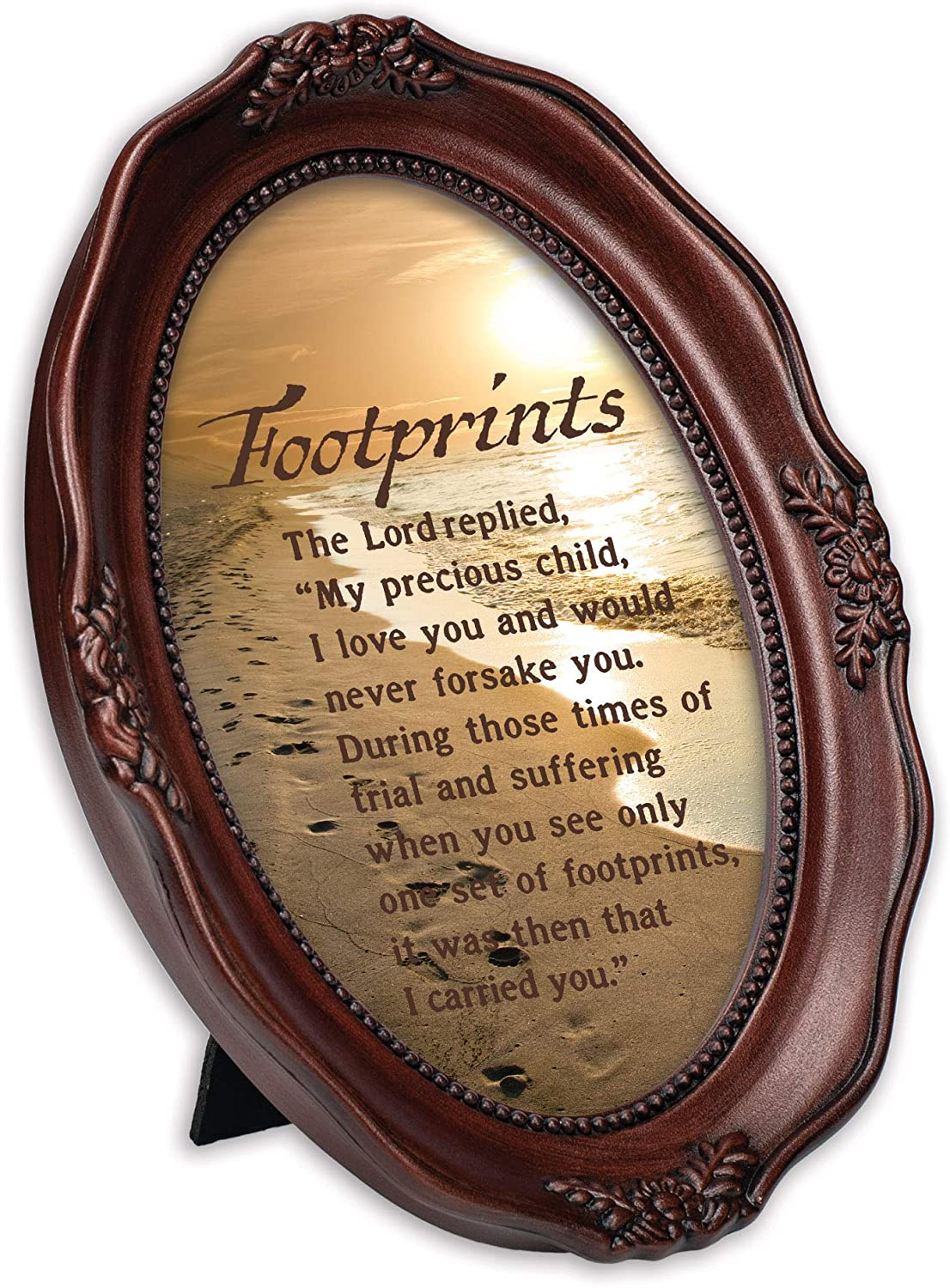 Cottage Garden Footprints in The Sand Mahogany Finish Wavy 5 x 7 Oval Table Top and Wall Photo Frame