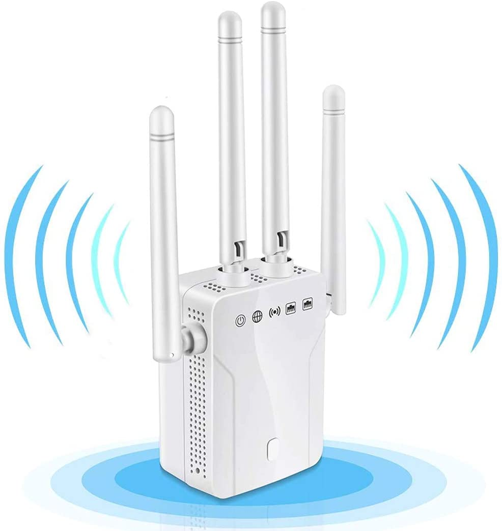 WiFi Range Extender,Signal Booster Repeater 1200Mbps,Dual Band 2.4G & 5G Signal Expander,Signal Amplifier 360°Full Coverage, Extend WiFi Signal for Smart Home Alexa Devices|Easy Setup| (White)