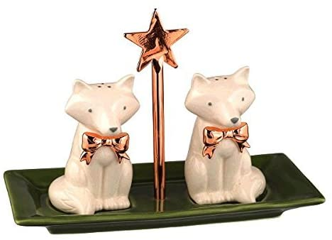 Grasslands Road Merry and Brights Fox on Tray Salt and Pepper Shaker Set, Ceramic