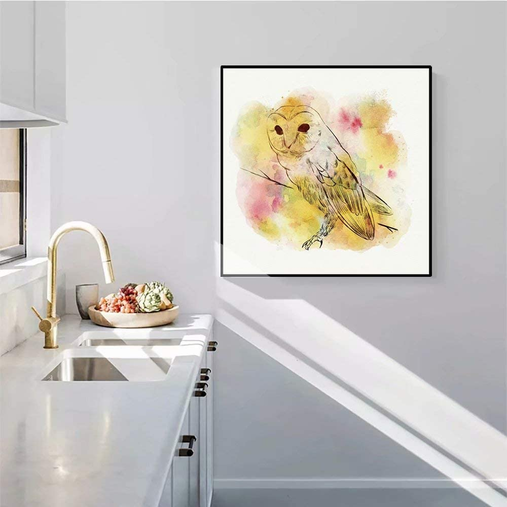 shensu Framed Canvas Wall Artwork Watercolor Prints Cute Animal Posters Yellow Owl Bird White Background Cartoon Wall Decor for Living Room Kids Bedroom Bathroom Kitchen Office Home Decor 20x20inch