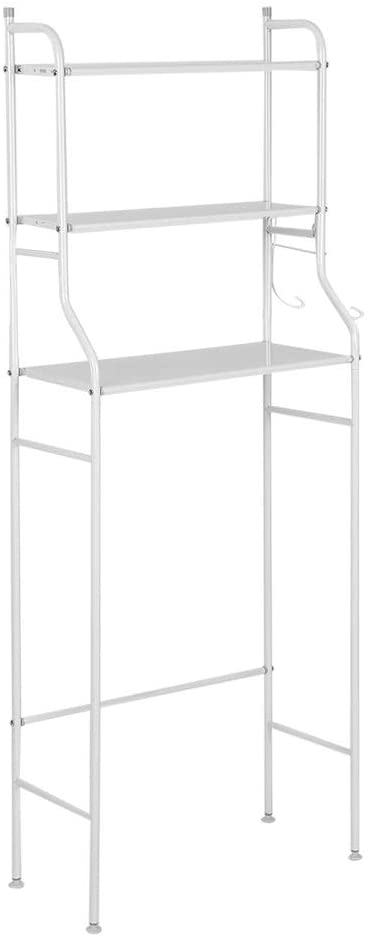 MAGT Bathroom Organizer Toilet Storage Shelf, Iron Toilet Towel Storage Rack Holder Over Bathroom Shelf Organizer 3-Tier (Color : White)