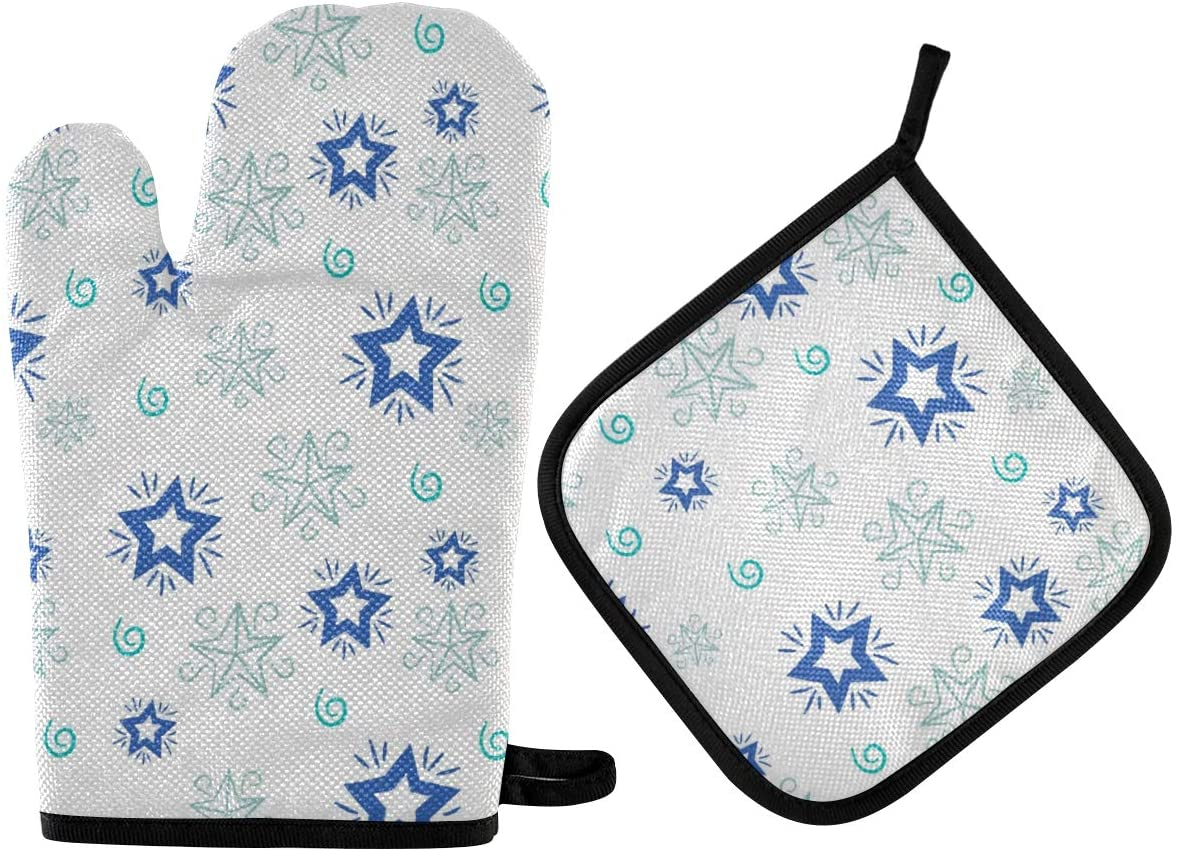 Oven Mitts and Pot Holders Blue Star High Heat Resistant Cooking Gloves Potholders Set for Kitchen BBQ Baking Grilling