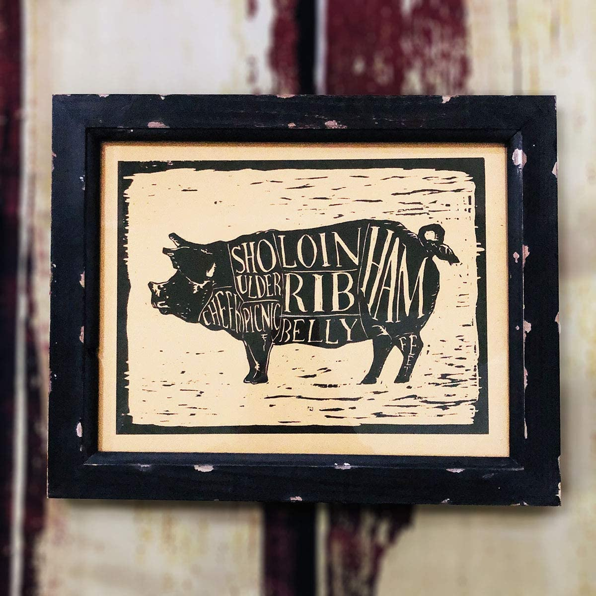 AR Country Store Framed Pig Butcher's Guide Wall Decor