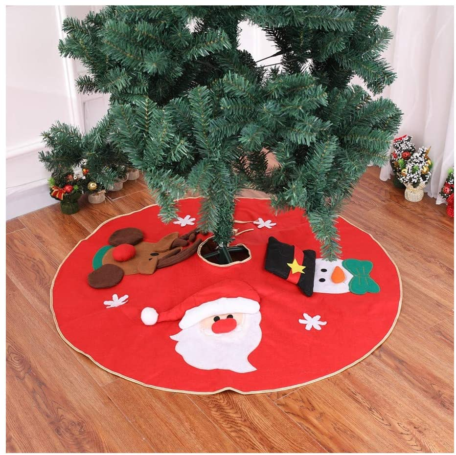 MITOWERMI Christmas Tree Skirt with Santa,Snowman and Reindeer,39 inches Tree Skirts for Christmas Holiday Decoration
