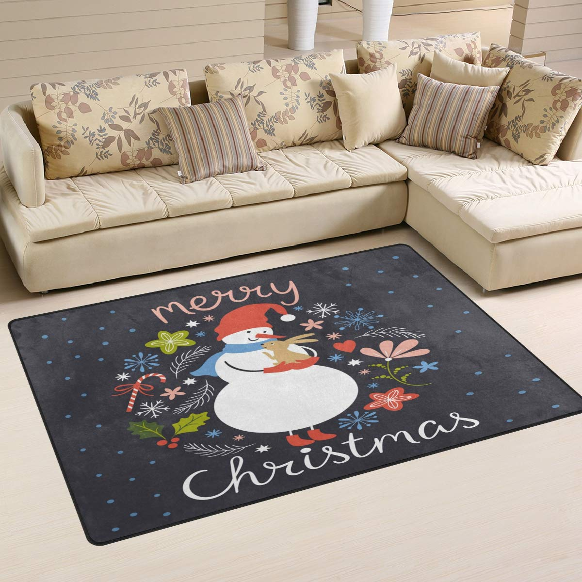 ALAZA Home Decor Cute Snowman with Little Rabbit Christmas Area Rug Carpet, Rugs Floor Carpet Mat Living Room Carpet for Girl's Room Home Indoor Decor 3'x5'
