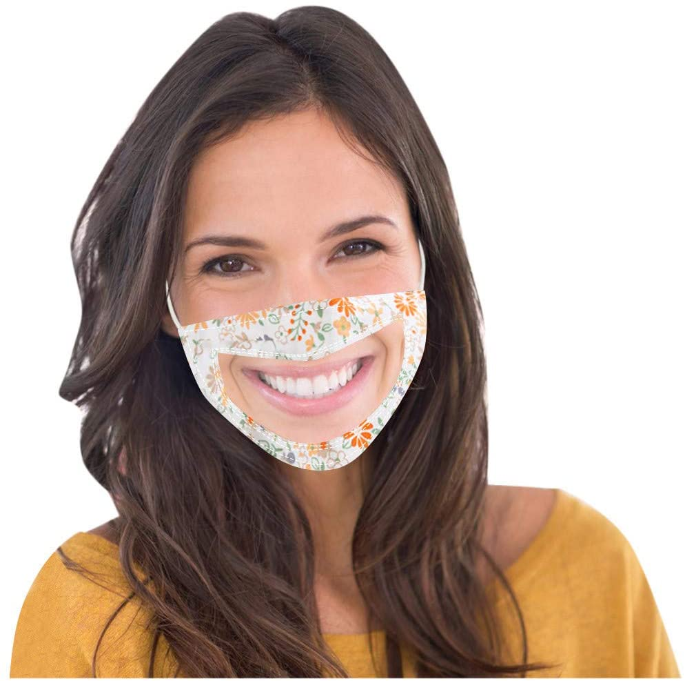 Transparent Mouth Face Mouth Cotton with Detachable Eye Shield Adults Face Bandanas with Clear Window Visible Expression Lip Reading Outdoor Face Products