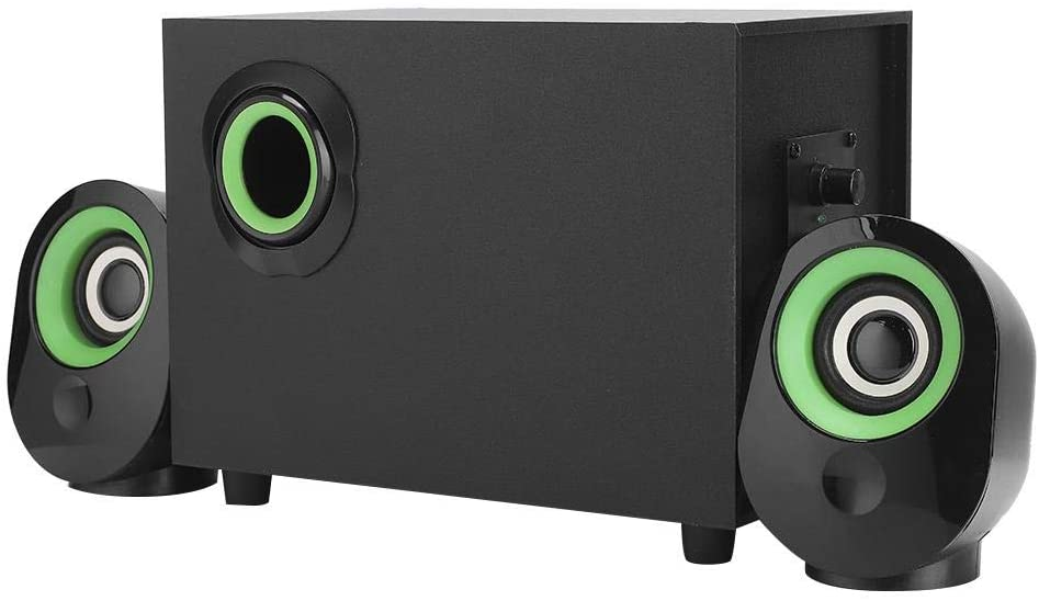 Sorand USB PC subwoofer, Desktop Speakers, 360 ° Stereo for Desktop/Laptop(Green Circle Black)